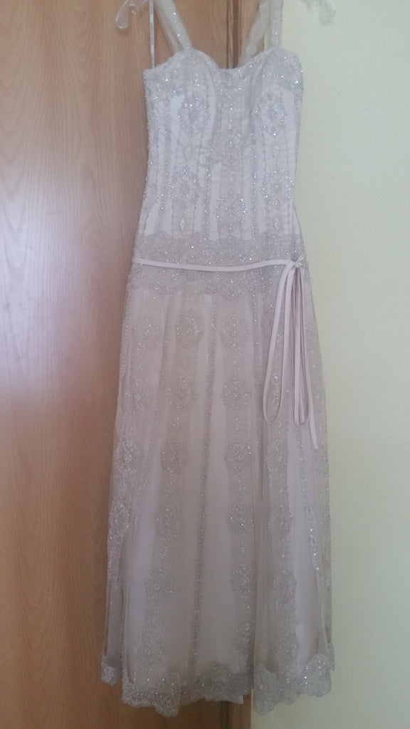 Maggie Sottero 'Gatsby' size 8 used wedding dress front view on hanger