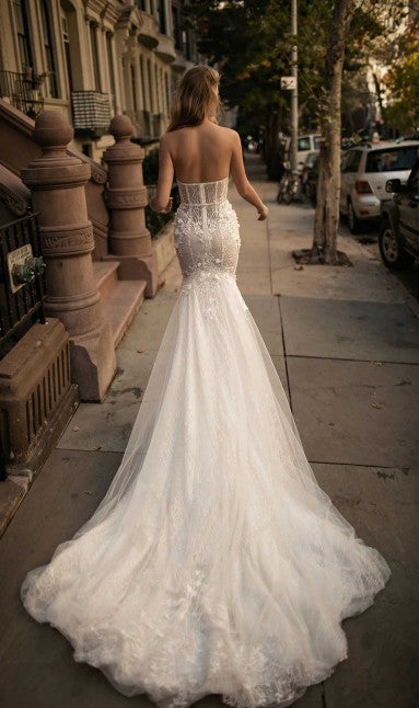 Berta '17' size 6 used wedding dress back view on model