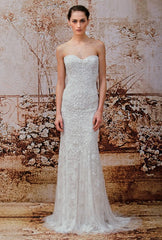 Monique Lhuillier 'Gweneth' size 8 used wedding dress front view on model