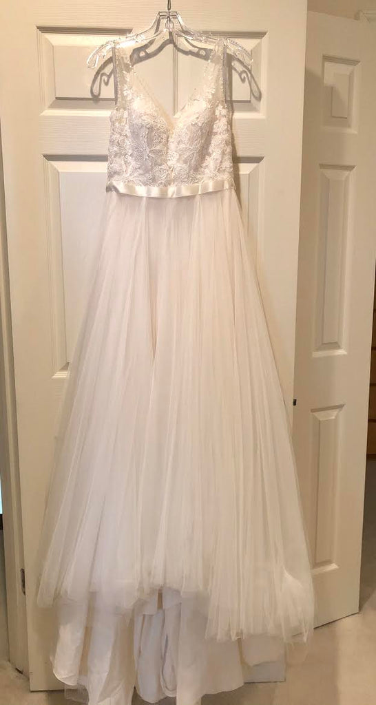 BHLDN 'Cassia' size 2 used wedding dress front view on hanger