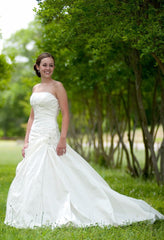 Blue 'Brigham' size 0 used wedding dress front view on bride