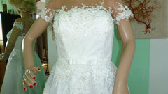 Ella 'Sissi' size 8 used wedding dress front view close up on mannequin