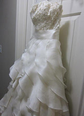 Jim Hjelm Semi Sweetheart Ruffled Ball Gown with White Sash - Jim Hjelm - Nearly Newlywed Bridal Boutique - 4