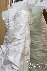 Pronovias Lace Fit and Flare with Peek-a-Boo Skirt - Pronovias - Nearly Newlywed Bridal Boutique - 3