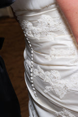 Pronovias Lace Fit and Flare with Peek-a-Boo Skirt - Pronovias - Nearly Newlywed Bridal Boutique - 6