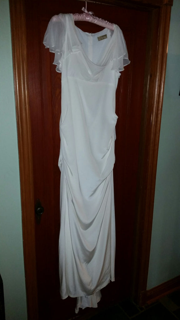 flutter sleeve stretch silk dress by nicole miller - Nicole Miller - Nearly Newlywed Bridal Boutique - 4