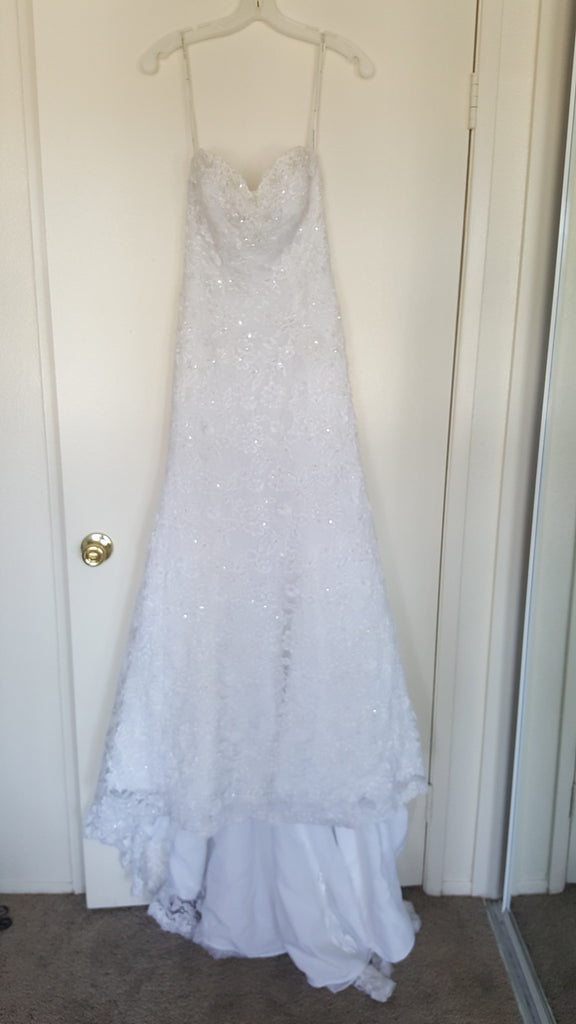 Monique Luo 'White Dress' size 2 new wedding dress front view on hanger