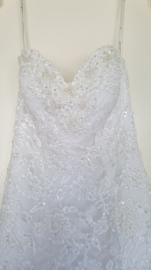 Monique Luo 'White Dress' size 2 new wedding dress front view close up on hanger