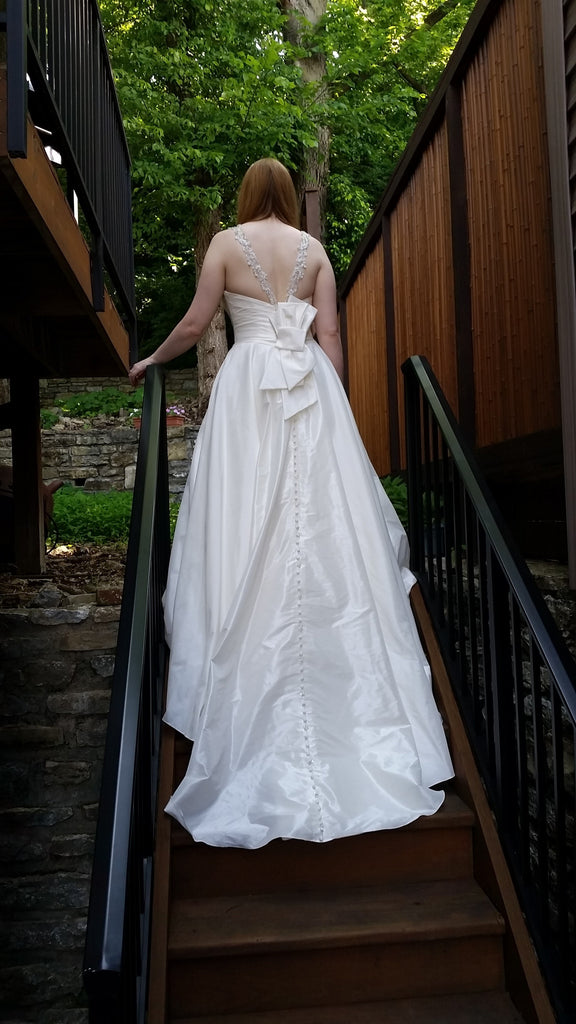 Allure Bridals 'Beaded Dress' size 10 sample wedding dress back view on bride