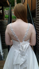 Allure Bridals 'Beaded Dress' size 10 sample wedding dress back view close up on bride