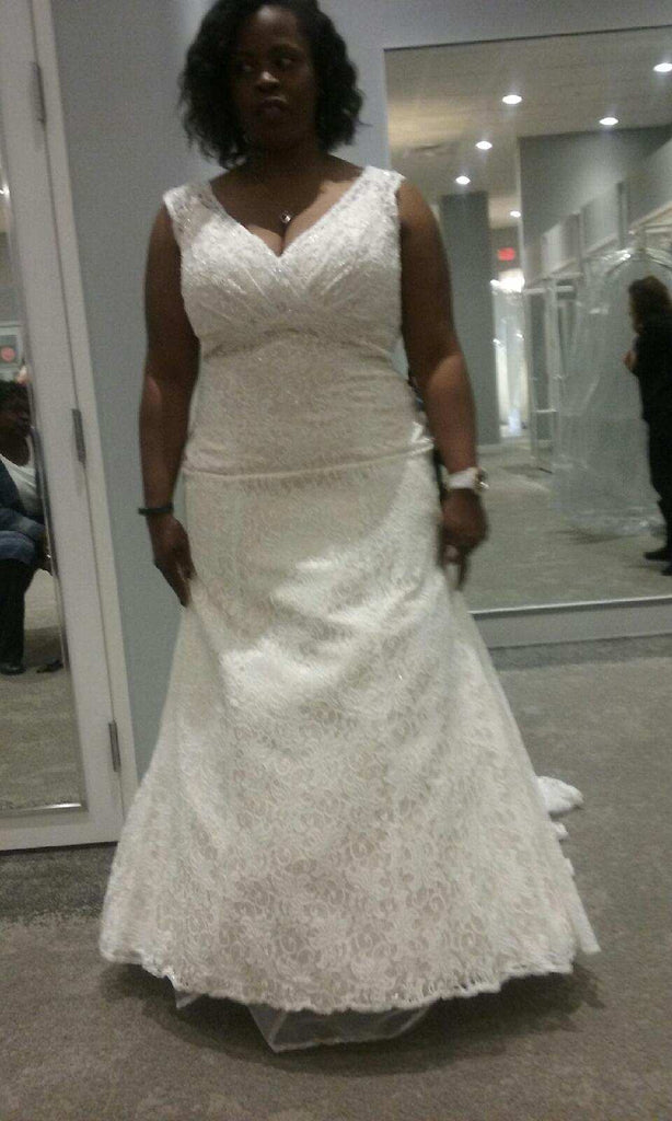 David's Bridal 'Satin and Lace' size 18 new wedding dress front view on bride