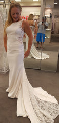Galina Signature 'Beaded Illusion' size 8 new wedding dress front view on bride