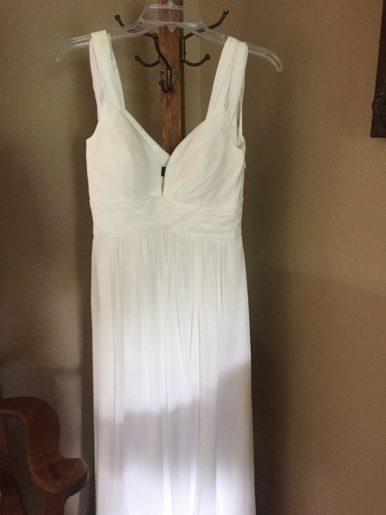 LuLus 'Gathered Flowing' size 4 new wedding dress front view on hanger