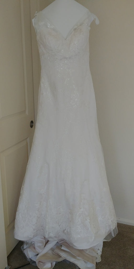 Oleg Cassini '517' size 2 used wedding dress front view on hanger