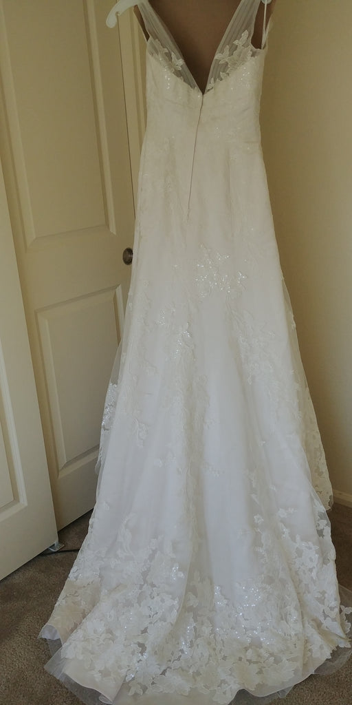 Oleg Cassini '517' size 2 used wedding dress back view on hanger