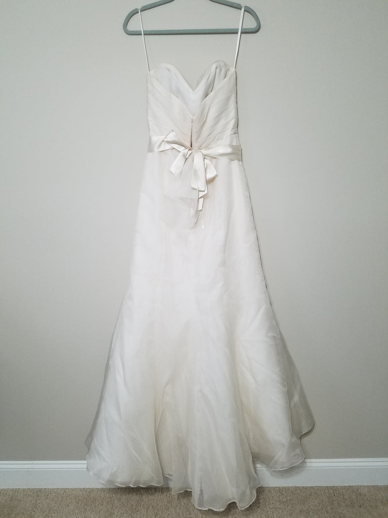 Amsale 'R103G' size 4 sample wedding dress front view on hanger