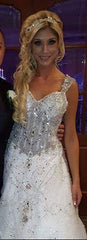 Custom 'Chellen' size 6 used wedding dress front view on bride