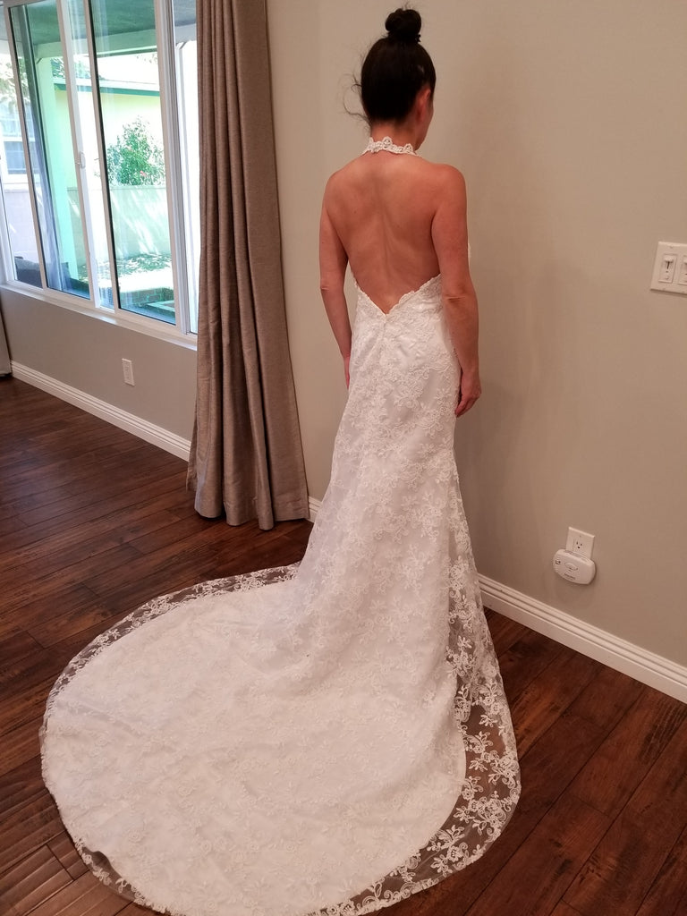 Simply Bridal '80842' size 8 new wedding dress back view on bride
