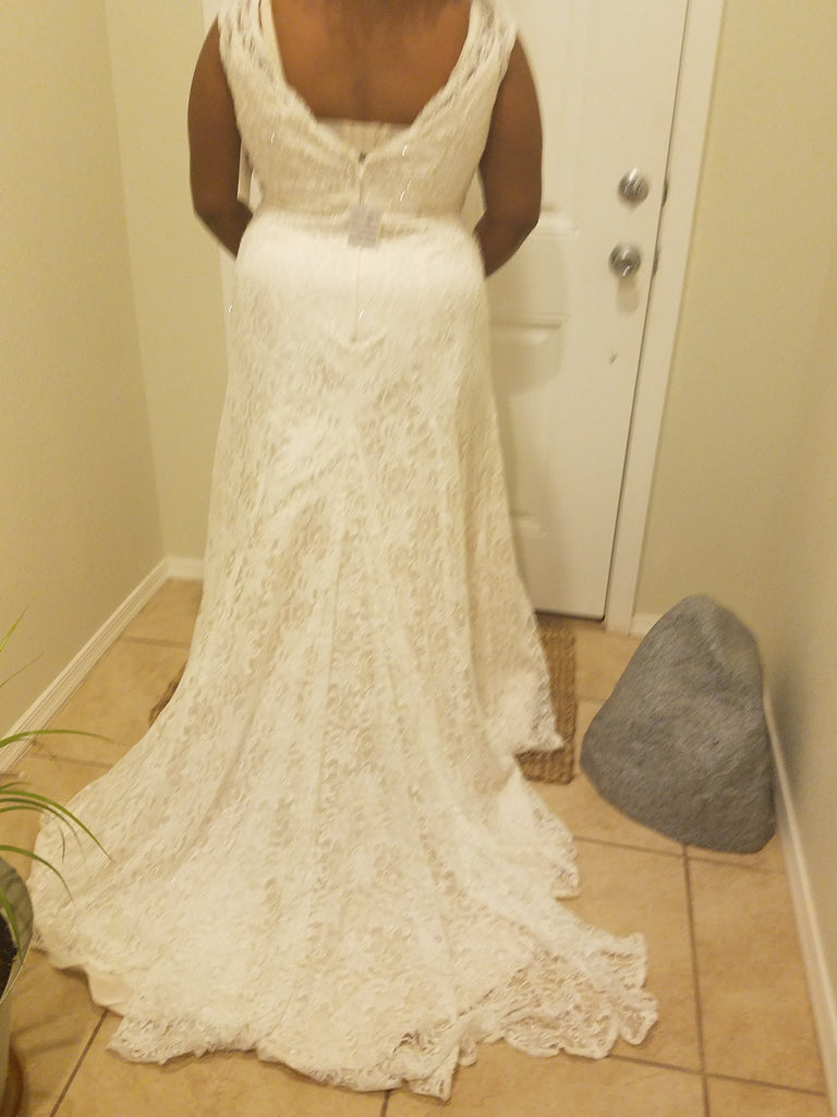 David's Bridal 'Satin and Lace' size 18 new wedding dress back view on bride