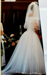 Custom 'Georgette of Boston' size 6 used wedding dress back view on bride