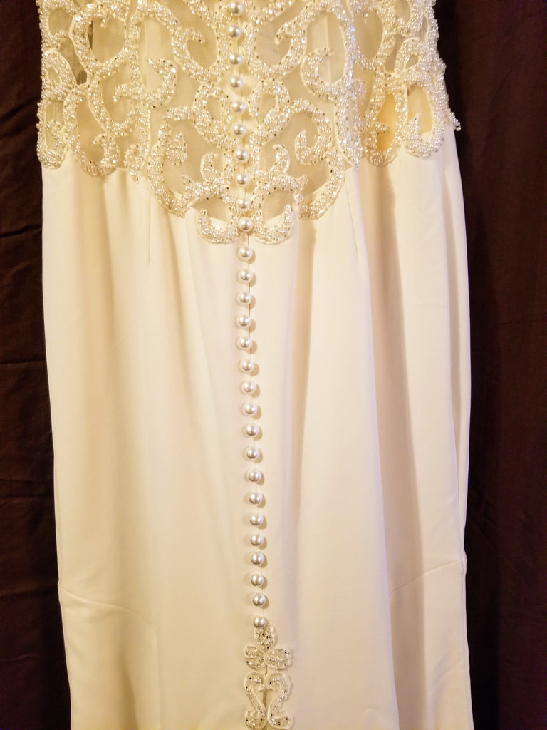 Galina Signature 'Beaded Illusion' size 8 new wedding dress back view on hanger