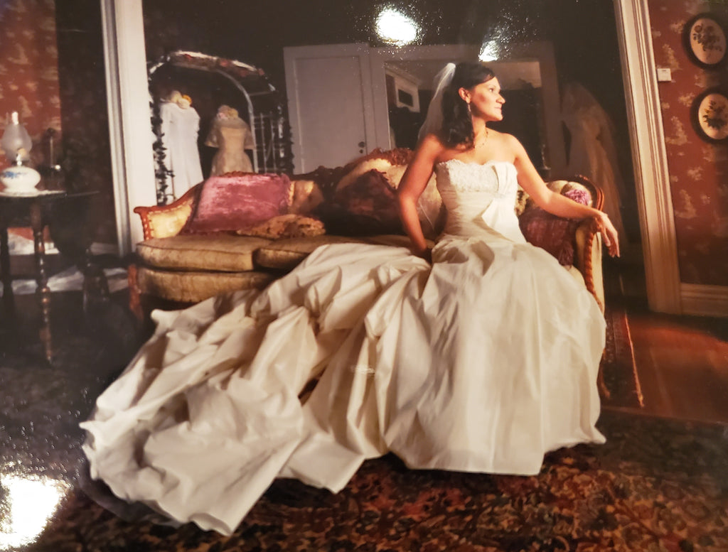 Maggie Sottero 'Imperial' size 8 used wedding dress side view on bride