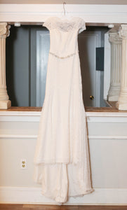 Mikaella 'Rosalie' size 10 used wedding dress front view on hanger