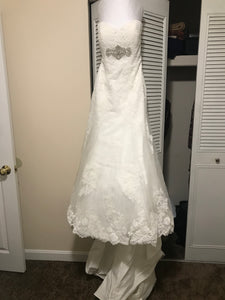 Alfred Angelo '2438' size 4 used wedding dress front view on hanger