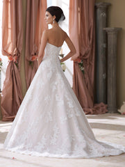 Mon Cheri 'Wyomia' size 14 used wedding dress back view on model