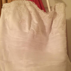 David's Bridal 'A Line' size 24 new wedding dress front view on hanger