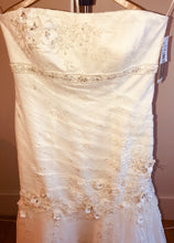 Load image into Gallery viewer, Oleg Cassini 'CWG377' size 14 new wedding dress front view on hanger