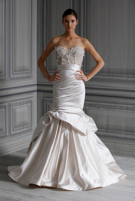 Monique Lhuillier 'Eternity Skirt/ Tuberose Corset' size 4 used wedding dress front view on model