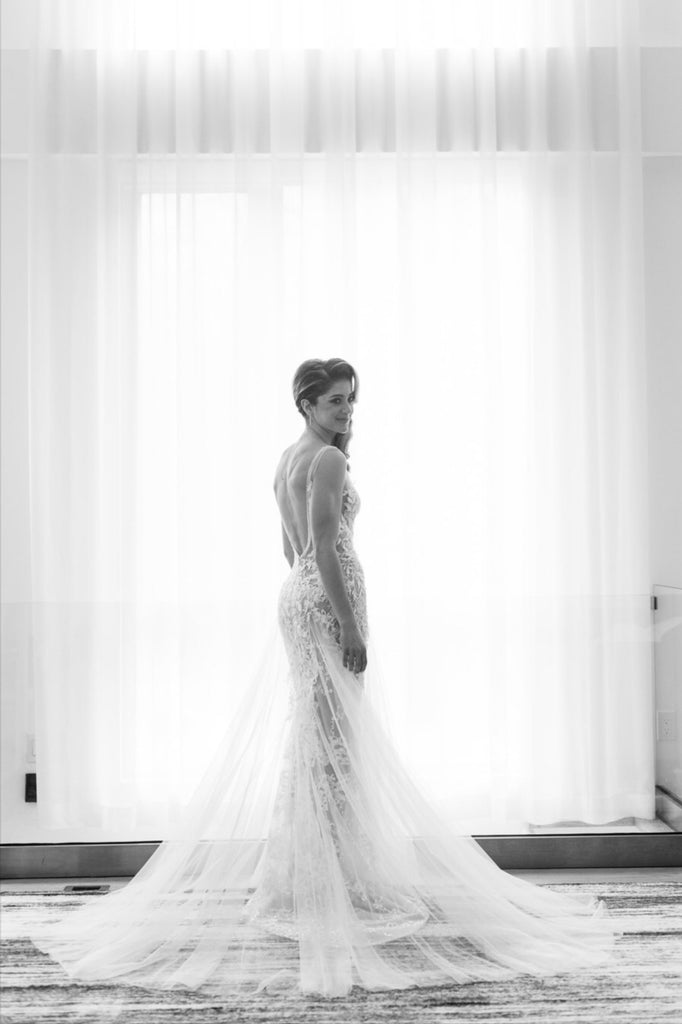 Berta 'Fall/Winter 2018 - 119' size 2 used wedding dress back view on bride