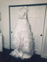 Load image into Gallery viewer, Galina Signature 'Strapless Organza' size 6 new wedding dress front view on hanger