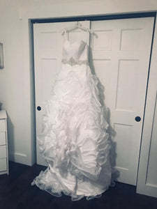 Galina Signature 'Strapless Organza' size 6 new wedding dress front view on hanger