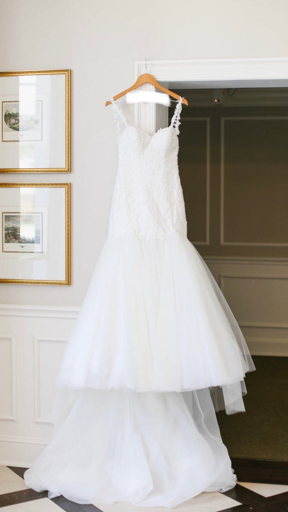 Essence of Australia 'Beaded Strapless' size 10 used wedding dress front view on hanger