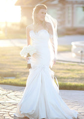 Pnina Tornai Pleated & Beaded Mermaid Wedding Dress - Pnina Tornai - Nearly Newlywed Bridal Boutique - 1