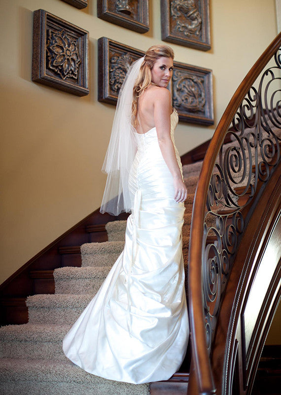 Pnina Tornai Pleated & Beaded Mermaid Wedding Dress - Pnina Tornai - Nearly Newlywed Bridal Boutique - 4