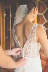 Ines Di Santo 'IDS919' size 12 used wedding dress back view on bride