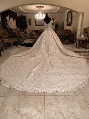 Mohammad Murad 'Royal Ball Gown' size 14 used wedding dress back view on mannequin