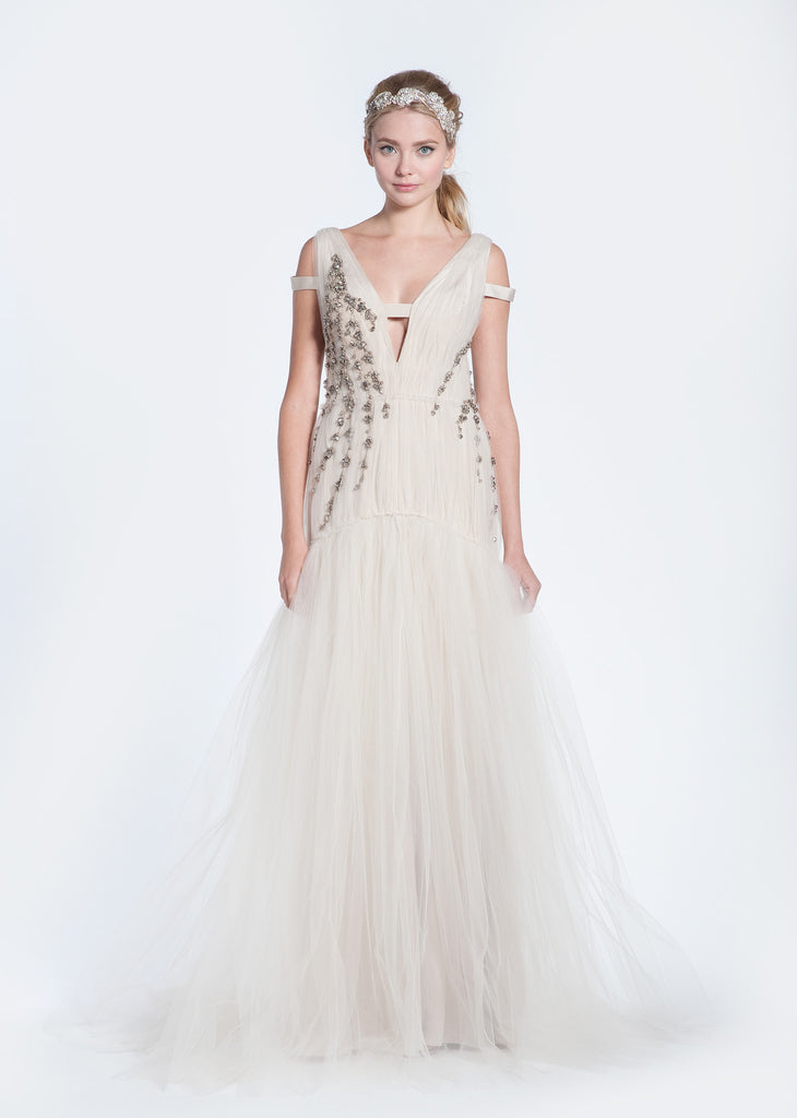 Bibhu Mohapatra 'Ellie' Blush Tulle Mermaid Wedding Dress - Bibhu Mohapatru - Nearly Newlywed Bridal Boutique - 7