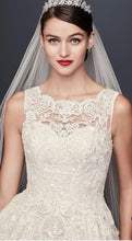 Load image into Gallery viewer, Oleg Cassini 'Beaded Lace' size 6 used wedding dress front view on model