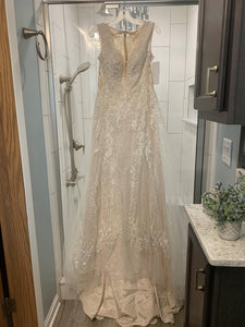 Galina Signature 'Tulle A-Line Wedding Dress with Plunging V-Neck' wedding dress size-10 NEW