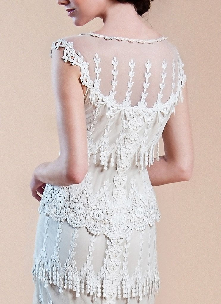 Claire Pettibone 'Kristene' size 12 used wedding dress back view close up