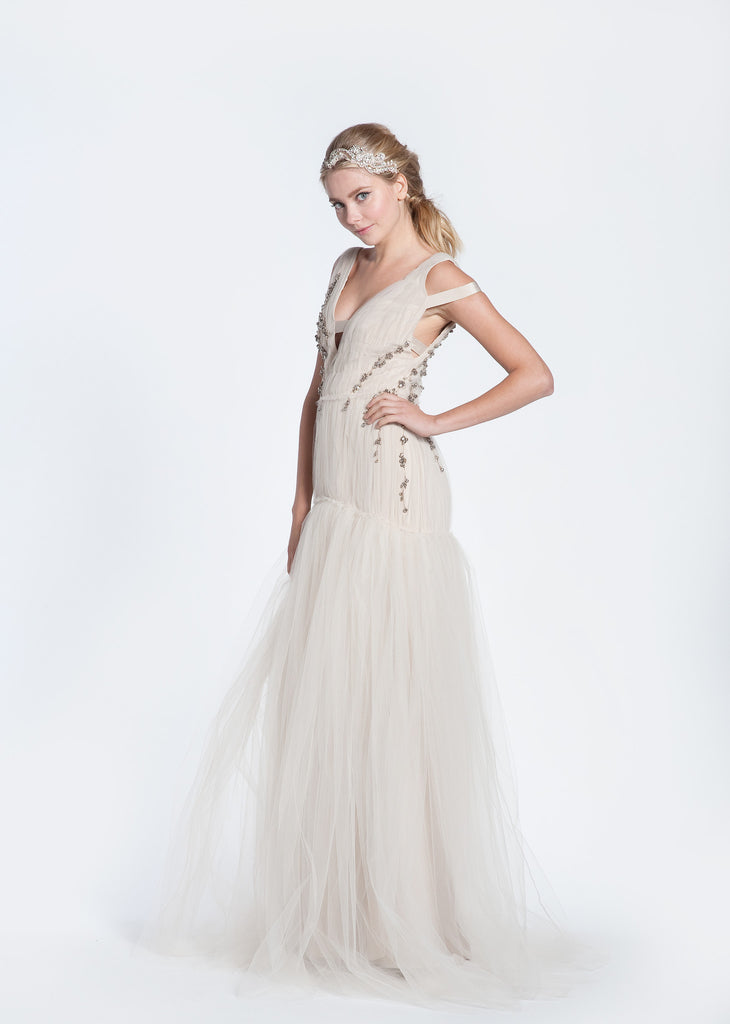 Bibhu Mohapatra 'Ellie' Blush Tulle Mermaid Wedding Dress - Bibhu Mohapatru - Nearly Newlywed Bridal Boutique - 5