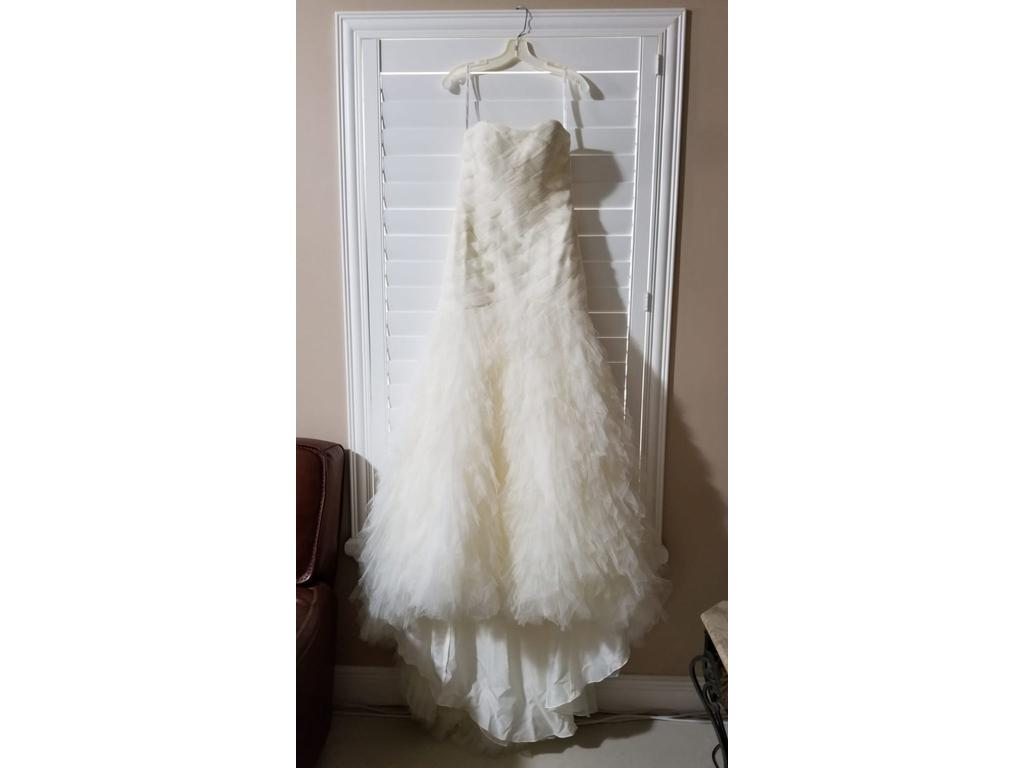 Galina Signature 'Basket Woven Trumpet' size 6 new wedding dress front view on hanger