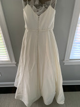 Load image into Gallery viewer, Amsale 'Rowan Silk Faille' size 10 used wedding dress front view on hanger