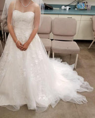Priscilla of Boston 'Beaded Sweetheart' size 6 used wedding dress front view on bride