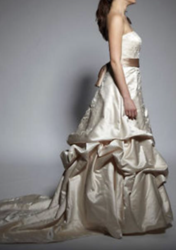 Oleg Cassini 'CT203' size 6 new wedding dress side view on model