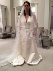 Amsale 'Cory' size 12 sample wedding dress front view on bride